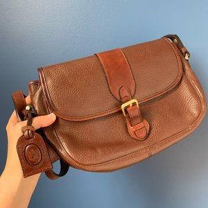 Vintage Liz Claiborne Brown Leather Crossbody Bag